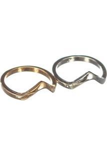 Anel Duplo Falange - Feminino-Prata+Dourado