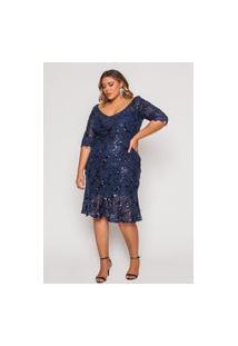 Vestido Almaria Plus Size Pianeta Midi Paetê Azul Marinho