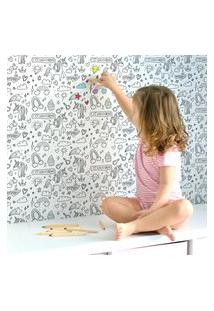 Papel De Parede Unicórnios Para Colorir Infantil 57X270Cm