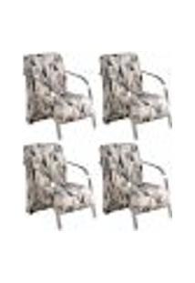 Conjunto De 4 Poltronas Sevilha Decorativa Braço Alumínio Cadeira Para Recepção, Sala Estar Tv Espera, Escritório - Poliéster Estampa 290