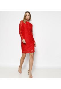 Vestido Em Renda Com Transparãªncia - Vermelho - Milimiliore