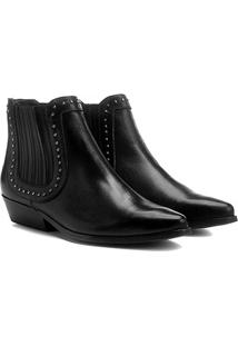 Bota Couro Chelsea Shoestock Cravinhos Feminina - Feminino-Preto