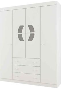Roupeiro 4 Portas E 3 Gavetas - Belly - Branco - Canaã Móveis