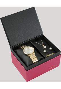 Kit De Relógio Analógico Lince Feminino + Brinco + Colar - Lrg4519L Ku76S3Kx Dourado - Único