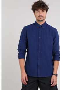 Camisa Masculina Com Bolso Manga Longa Azul Escuro