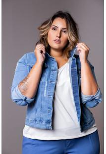 Jaqueta Jeans Feminina Plus Size