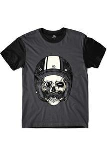 Camiseta Bsc Caveira De Capacete Monóculo Sublimada Masculina - Masculino-Cinza