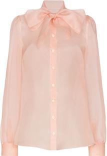 Dolce & Gabbana Camisa De Seda Com Amarração Na Gola - Rosa
