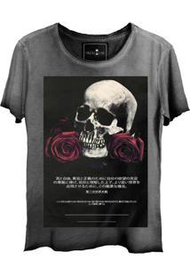 Camiseta Masculina Estonada Skull Lab Caveira Grafite