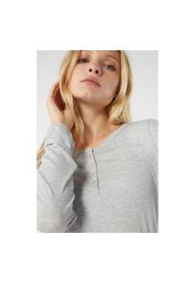Blusa Canelado Mistura Modal Mangas Compridas - Cinza G Intimissimi