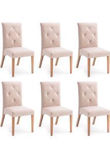 Conjunto Com 6 Cadeiras De Jantar Diamante Marrom Claro E Castanho