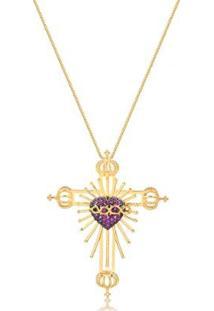 Colar Com Maxi Crucifixo Sagrado Coração De Jesus Folheado Francisca Joias - Feminino-Dourado