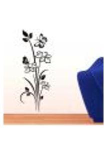 Adesivo De Parede Floral Modelo 13 (Flores E Borboletas) - Eg 155X50Cm