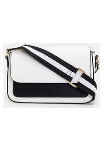 Bolsa Pequena Transversal Bicolor | Satinato | Branco | U