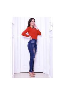 Calça Jeans Feminina Destroyed Blogueira Barra E Cós Desfiado