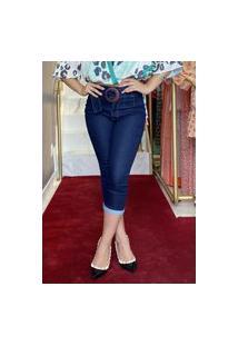 Calça Cropped Jeans Amaciada Com Cinto