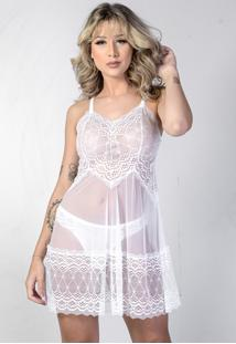 Camisola Yasmin Lingerie Chantal Curta Branca - Branco - Feminino - Dafiti
