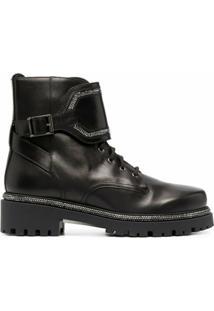 René Caovilla Ankle Boot Com Aplicação De Cristais - Preto