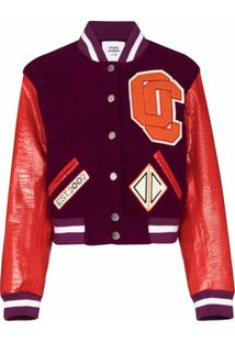 Opening Ceremony Logo Appliqué Cropped Varsity Jacket - Roxo