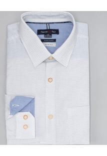 Camisa Manga Longa Slim Maquinetada Com Estampa Em Poá