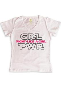 Camiseta Geek Feminina Gola V Series E Cinema Cool Tees Girl Power - Feminino-Rosa