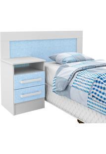Cabeceira Infantil 2 Gavetas Branco/Azul 62D081 - Rodial