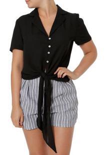 Camisa Manga Curta Feminina Preto