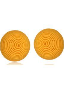 Brinco Le Diamond Botão De Seda Amarelo