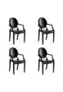 Kit 4 Cadeiras Wind Plus Em Polipropileno Kappesberg - Preto