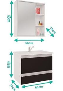 Armário Banheiro Messina Com Espelheira Treviso E Pia Em Marmore Sintetico Branco/Preto Mgm
