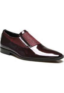 Sapato Social Couro Calvest Verniz - Masculino-Bordô