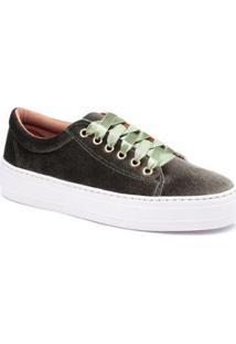 Tenis Top Franca Shoes Veludo Feminino - Feminino-Preto+Verde
