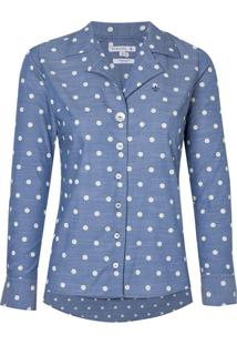 Camisa Ml Feminina Tricoline Slub Estamp (Estampado, 38)