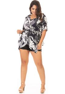 Blusa Feminina Estampada Alongada Plus Size