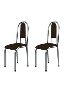 Kit 2 Cadeiras Anatômicas 0.122 Estofada Cromado/Marrom Escuro - March