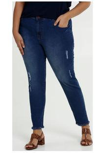 Calça Jeans Cigarrete Destroyed Feminina Plus Size Marisa