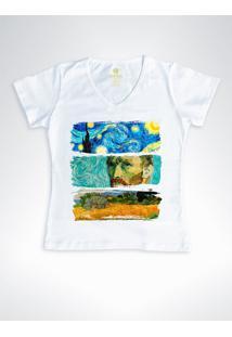 Camiseta Feminina Gola V Cool Tees Van Gogh Branca - Branco - Feminino - Algodã£O - Dafiti