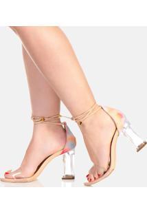Sandália Salto Alto Feminina Transparência Confort Tie Dye
