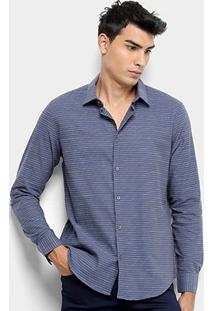 Camisa Xadrez Manga Longa Calvin Klein Slim Masculina - Masculino-Azul