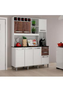 Cozinha Compacta Granada 7 Pt 2 Gv Branca E Castanho