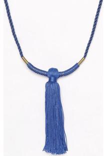 Colar Com Trançado & Barbicacho - Dourado & Azul - 1Canal