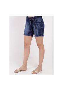 Bermuda Jeans Com Faixa Para Amarração Feminina Azul
