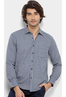 Camisa Xadrez Manga Longa Broken Rules Masculina - Masculino-Azul+Branco