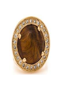 Anel Kumbayá Redondo Semijoia Banho De Ouro 18K Pedra Natural Olho De Tigre E Cravaçáo De Zircônias