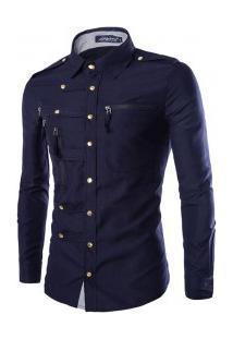 Camisa Masculina Slim Design Abotoado Manga Longa - Azul Escuro