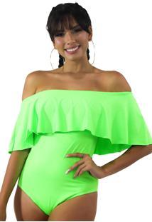 Body Racy Modas Neon Basic Com Babado Verde