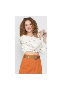 Blusa Cropped Forum Ombro A Ombro Off-White