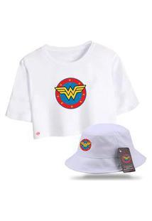 Kit Blusa Feminina Cropped Com Chapéu Bucket Personalizado Mulher Maravilha - Branco