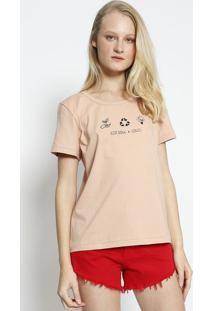 """Camiseta """"Eco Soul Colcciâ®""""- Rosa & Preta- Colccicolcci"""