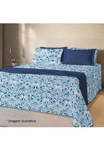 Conjunto De Colcha Queen Size- Branco & Azul Marinhoteka